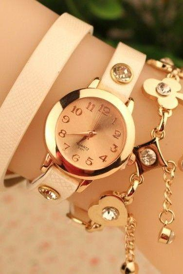 Good luck rhinestones dress fashion white woman watch