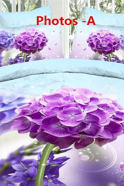 European style fashion cotton textile lilac 3D bedding a family of four romantic love