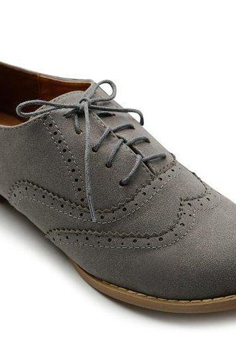 Suede Lace-up Wingtip Flat Oxford Shoes