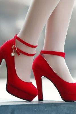 2015 new fashon Waterproof red high heel wedding shoes