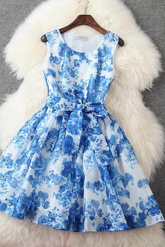 2015 summer fashion blue Luxury Designer Sleeveless Dress