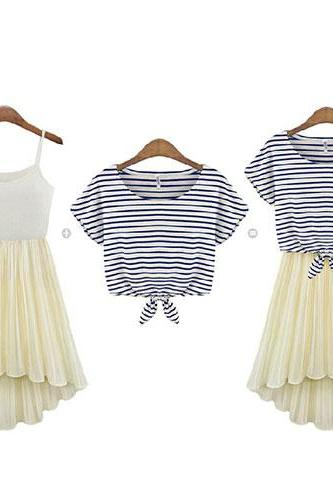 Stripe Short Sleeve T Shirt And Pleated Slip Dress