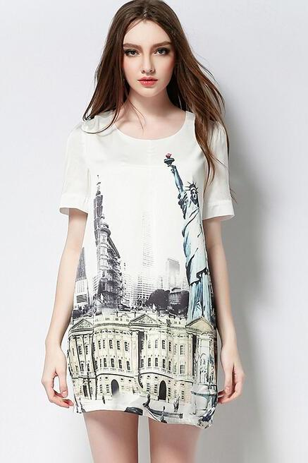 2015 summer Lace Inn Vintage Pattern Print Summer Tunic Dress High Quality