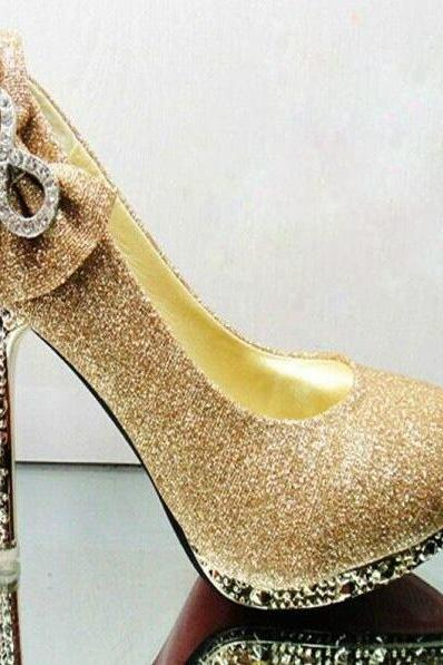 Crystal Bow Waterproof Shoes Sexy High Heels