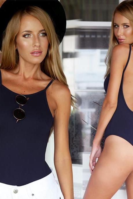 Newest!! Stylish Lady Women Sexy Boat Neck Strap Backless Short Jumpsuit Slim Bodycon Club Tops