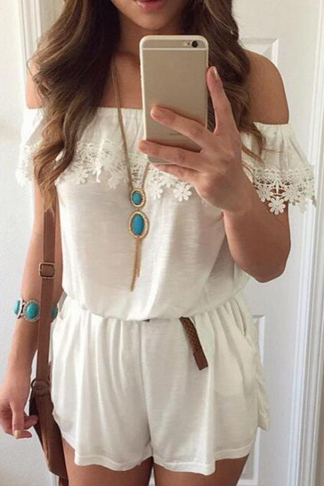 Women Sexy Casual Slash Neck Off Shoulder Short Sleeve Lace Stitching Elastic Waist Jumpsuit