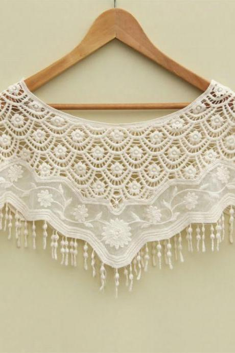 Mesh Hollow Crochet Lace Cape Shawl
