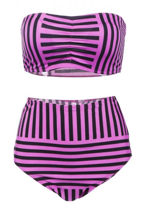 Striped High Waist Slim Bikini Swimsuit
