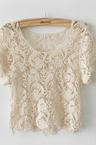 New Arrival Cute Japanese Style Crochet Lace Shirt Tops