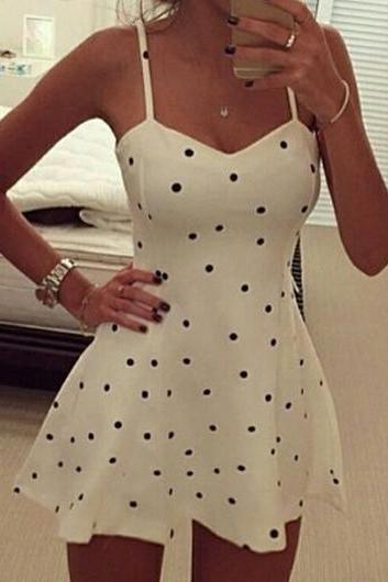 Spaghetti Strap Polka Dot Print Skater Dress