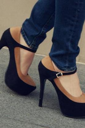 Fashion Round Closed Toe Patchwork Stiletto High Heels PU Mary Jane Pumps