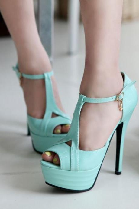 Gorgeous T Strap Pastel Blue Peep Toe High Heel Sandals