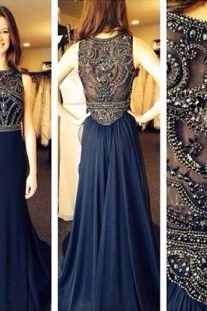 Hot Sales Navy Blue Bodice Heavy Beadings Long Prom Dress,High Neck A Line Evening Prom Gowns,Diy Rhinestones Prom Dresses,Graduation Dress