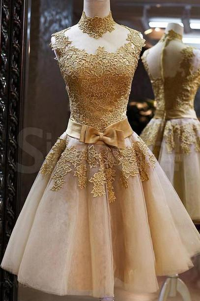 New Arrival Short/Mini Appliques Homecoming Dresses,Gold Party Dresses, High-Neck Real Made Homecoming Dresses, Real Made Graduation Dresses,