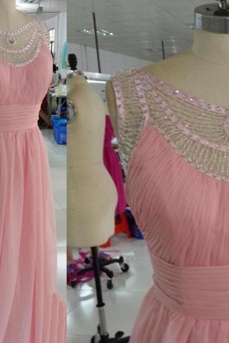 Pretty Pink Handmade Chiffon Dresses with Beadings, Prom Gowns 2015, Pink Formal Gowns, Evening Dresses 2015