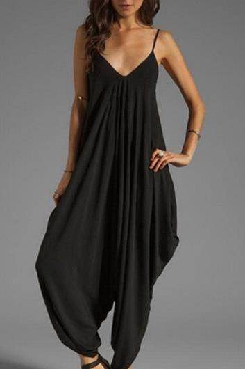 Black Spaghetti Strap Design Loose Jumpsuit