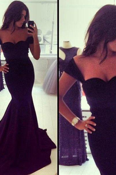 sexy prom dress, black prom dress, prom dress, mermaid prom dress, cap sleeve prom dress, sweet heart prom dress, evening dress, prom dress, BD337