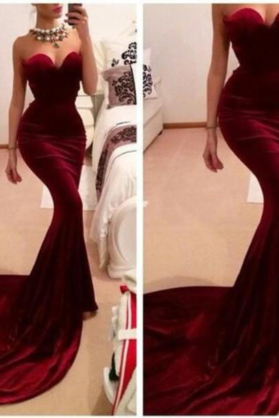 sexy prom dress, wine red prom dress, on sale prom dress, mermaid prom dress, sleeveless prom dress, sweet heart prom dress, evening dress, BD339