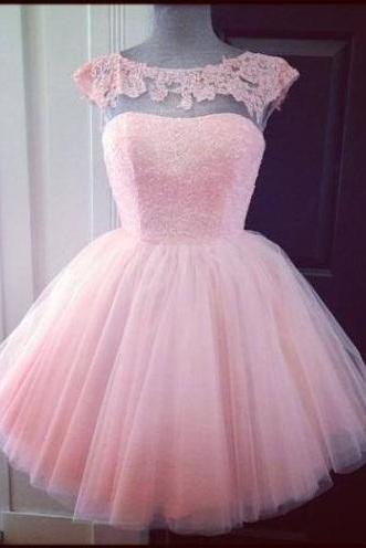 cap sleeve prom dress, pink prom dress, cute prom dress, knee-length prom dress, tulle prom dress, princess prom dress, homecoming dress, short prom dress, BD342