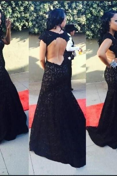 Black Plunge V Spaghetti Straps Floor Length Formal Dress Featuring Open Back, Prom Dress