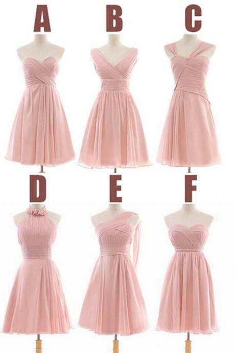 peach bridesmaid dress, short bridesmaid dress, bridesmaid dress, knee-length bridesmaid dress, simple bridesmaid dress, chiffon bridesmaid dress, mismatched bridesmaid dress, BD354