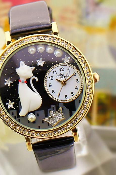 2015 summer fashion cute female Crystal Table Space Cat Watch
