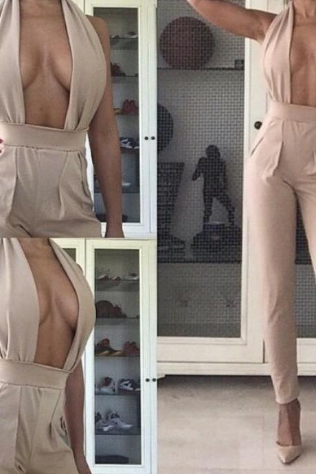 SEXY BACKLESS HANGING NECK JUMPSUITS