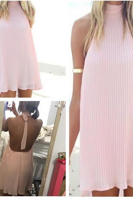 Light Pink Chiffon Tie High Halter Neck Short A-Line Shift Dress