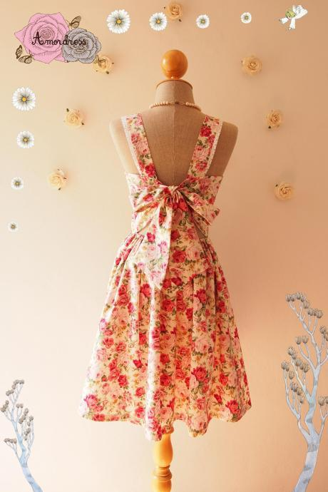 Fairy Wings Floral Summer Dress Vintage Inspired Backless Bow Dress Floral Bridesmaid Dress Cream Pink Floral Party Dress- Size XS-XL