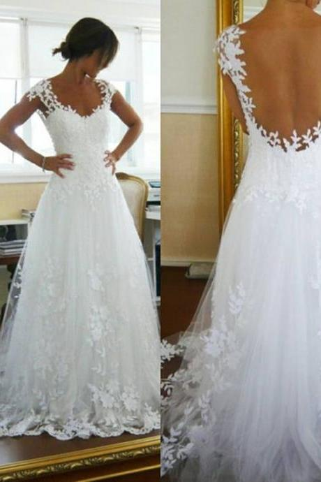 Sexy V Neck Vintage Lace Sheer Wedding Dresses A Line See Through Floor Length Appliques Plus Size Wedding Gowns