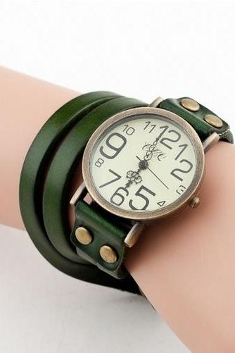 Fashion Leather Bracelet Vintage Green Woman Watch