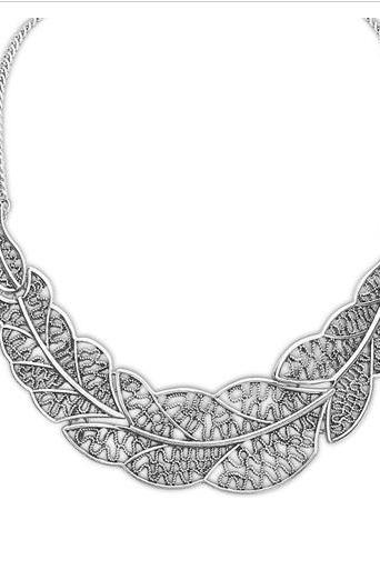 Elegant leaves statement dress silver prom necklace
