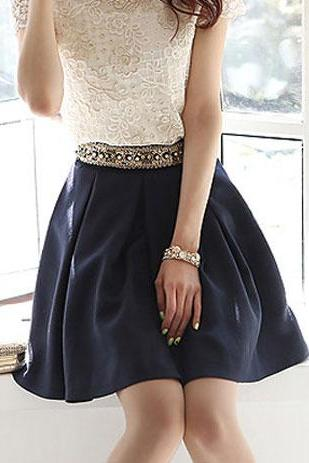 Royal Blue Embellished Rivets High Waisted Pleated Skirt