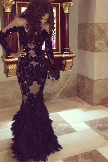 Sexy Black Long Sleeves Celebrity Dresses Mermaid Scoop Lace Appliques Sequined Feathers Long Evening Dresses Prom Gowns