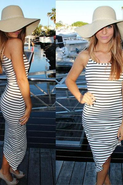 Fashion Striped Irregular Package Hip Dress