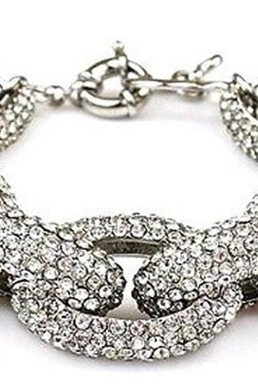 Silver Chunky Pave Link Chain Classic Bracelet J Style with 1,500+ Crystals Rhinestones