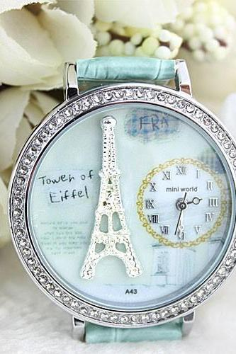 2015 summer fashion Polymer Clay Cartoon Rhinestones Romantic Paris Crystal Tower Retro Watch for girl and women