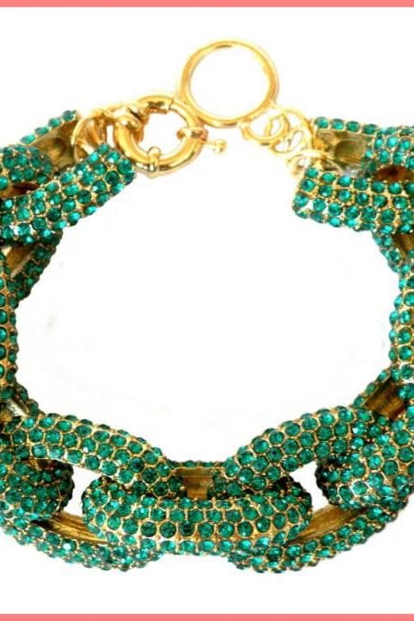 Green Chunky Pave Link Chain Classic Bracelet J Style with 1,500+ Crystals Rhinestones