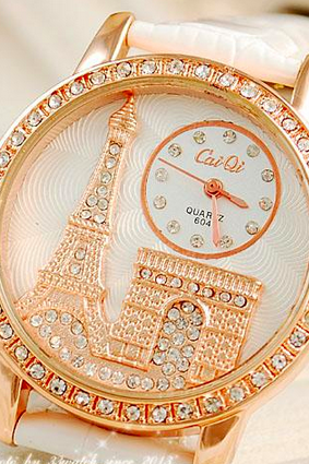 2015 fashion Luxury Crystal Diamond Eiffel Tower Watch With Leather Strap