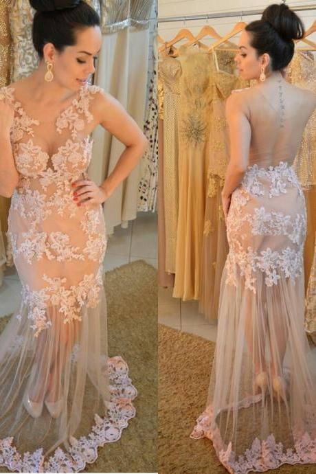 Sexy Chanpagne Mermaid Lace Evening Dresses Scoop Floor Length 2015 Prom Gowns with Appliques Custom,Wedding party Dresses