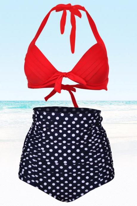New Dot Women High Waist Swimsuit Swimwear Bikini
