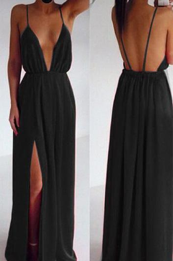 Fabulous Deep V Neck Maxi Dress In Black