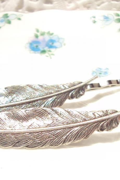Silver Feather Hair Pins - Bobby Pin - Woodland Collection - Whimsical - Bridal