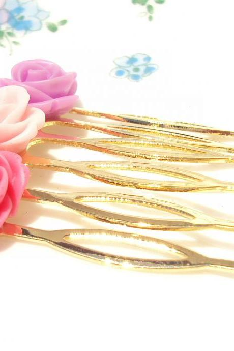 Gold Flower Hair Comb - Bridal - Bridesmaid