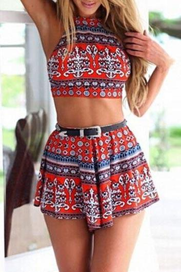 Sexy Halter Printed Crop Top and Boot Cut Shorts Set