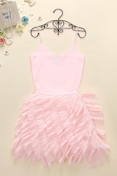 In the summer of 2015 the new sexy condole belt unlined upper garment of cultivate one's morality cake skirt suit + feathers QSYE