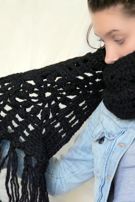 Long Black Crochet Scarf - Boho Scarf - Wool Crochet Scarf - Tasselled Scarf - Rock Chick