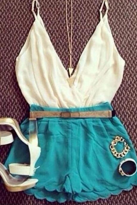 White condole belt blue conjoined divided skirts ROMPER