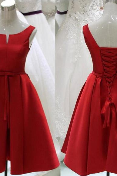 Pretty Red Sation Short Red Lace-Up Prom Dresses, Short Red Formal Dresses, Graduation Dresses, Red Homecoming Dresses 2015