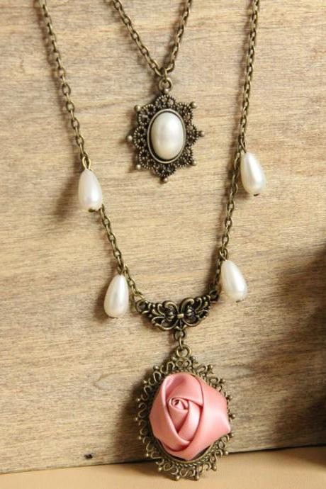 Spring Long necklace for women vintage pearl rose flower vintage multi-layer necklaces & pendants women accessories SC-23